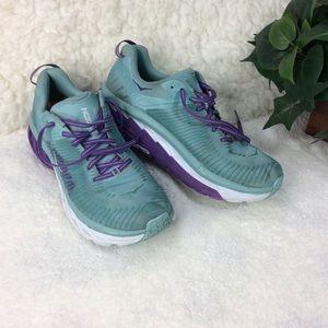 Hoka One One Arahi 2  Mint & Purple Sneaker Sz 10